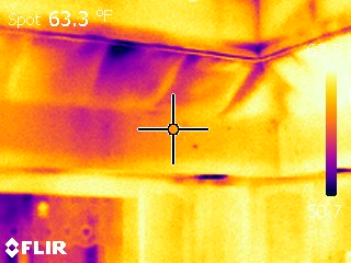Infrared picture of heat loss in a home