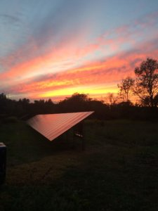 sunset over solar farm